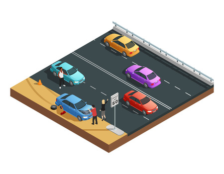 vector tyre: Car accidents isometric composition with two people having flat tyre and asking for help vector illustration