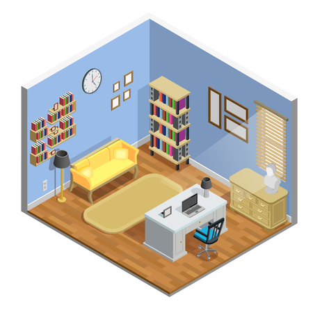 study table: Study room isometric concept with table sofa and laptop vector illustration Illustration