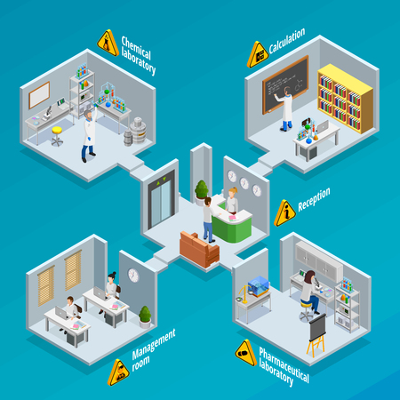 Chemical: Laboratory and research  concept with chemical and pharmaceutical laboratories isometric vector illustration