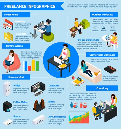 time specification: Coworking freelance people infographic set with teamwork symbols isometric vector illustration