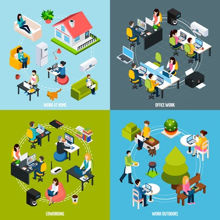 time specification: Coworking people concept icons set with freelance symbols isometric isolated vector illustration