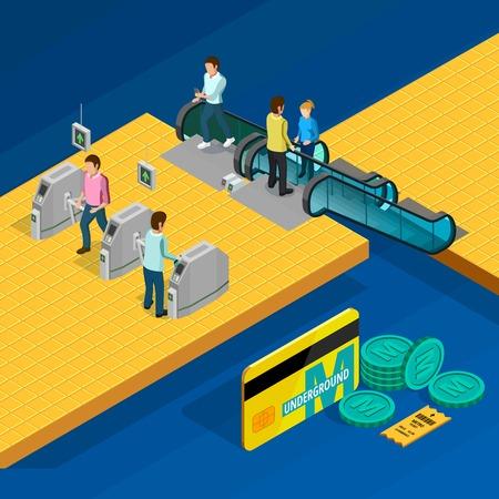 Metro isometrisch ontwerpconcept met roltrap en mensen op blauwe vectorillustratie als achtergrond