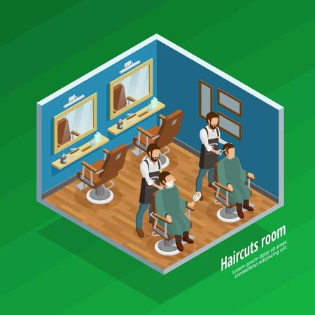Haircut room isometric concept with barber and equipment symbols on green background vector illustration