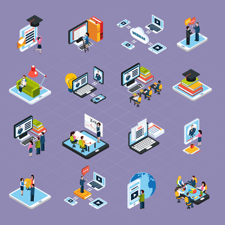 business media: Webinar podcasting isometric icons set with laptop and people isolated vector illustration