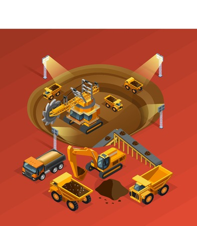 Mining isometric concept with machinery and extraction on red background vector illustration
