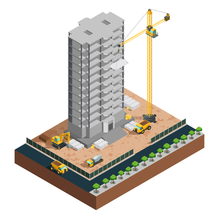construction icon: Process of many-storeyed building construction isometric composition with various vehicles and materials on white background vector illustration