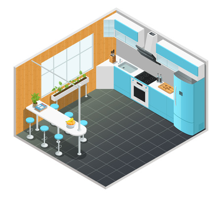 oven range: Color isometric design of kitchen interior with tall table and appliances vector illustration
