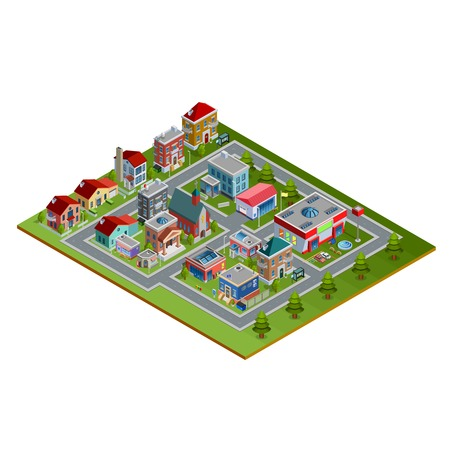 lowrise: Isometric cityscape with low-rise houses historic buildings church stores and fir trees along roads on white background vector illustration