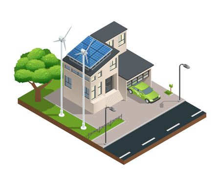 residential zone: Modern green eco house with garage lawn solar panels producing electricity on roof and two wind turbines isometric vector illustration