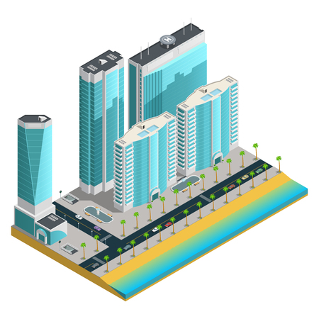 sea of houses: Isometric city composition with modern skyscrapers and many storeyed houses on sea coast on white background vector illustration