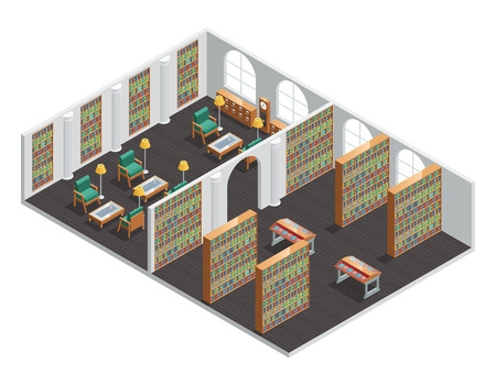 commercials: Isometric interior for empty bookstore and library rooms with bookshelves and armchairs vector illustration Illustration