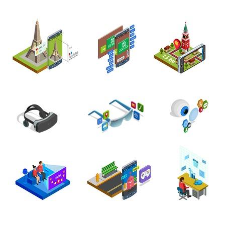 Aumentado equipo generado elementos de realidad modificada gadgets y accesorios con gafas inteligentes iconos isométricos conjunto ilustración vectorial aislado