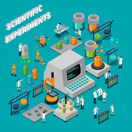 analyse: Scientific experiments isometric composition with people and technology symbols vector illustration