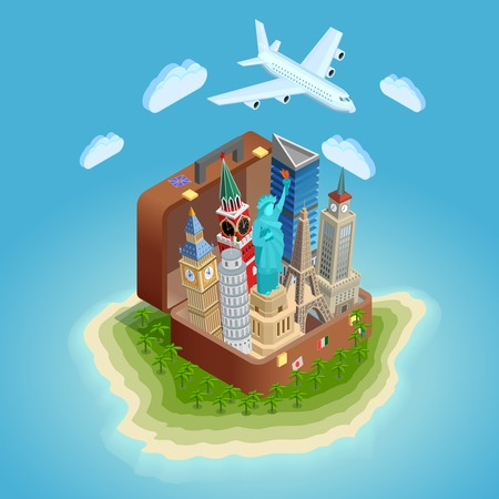 Poster of big suitcase on island with famous towers and statue aircraft in sky isometric vector illustration