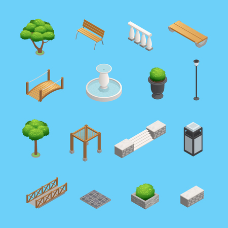 Landscaping isometric elements for garden and park design with plants trees and objects isolated on blue background vector illustration Illustration