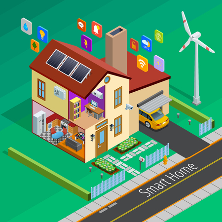 remote controlled: Internet of things smart country home outside isometric poster with remote controlled appliances symbols abstract vector illustration