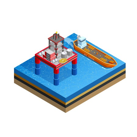 seabed: Offshore production platform oil rigs for drilling from seabed and tanker transport isometric icon white background vector illustration