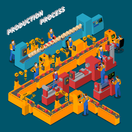 Factory isometric composition with production process symbols on blue background vector illustration Vetores
