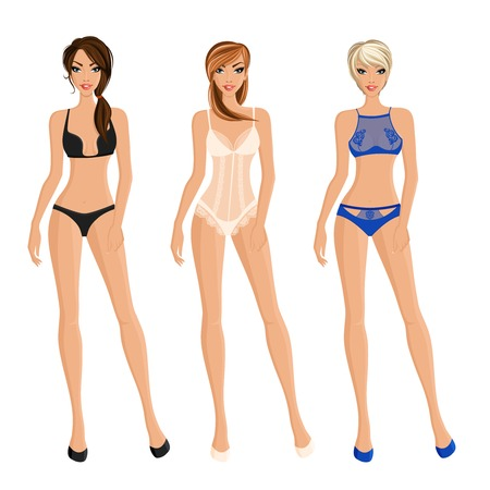 Flat images of pretty girls presenting different frank women underwear flat isolated vector illustration Illustration