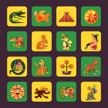 house icon: Maya green and yellow icons set with people and art symbols flat isolated vector illustration