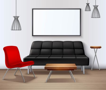 design frame: Modern interior design realistic mockup poster template with sofa coffee table whiteboard and red armchair vector illustration Illustration
