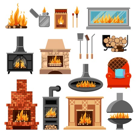 Flat icons set with various types of fireplaces tools for lighting fire and armchair isolated on white background vector illustration