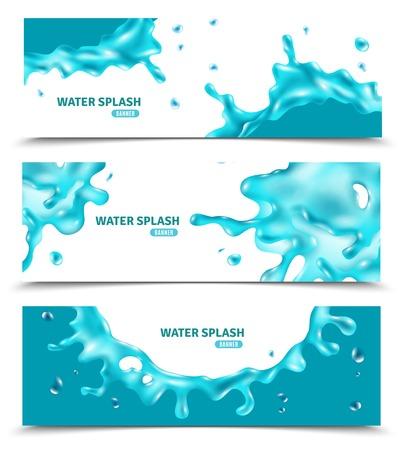 Het abstracte waterblauw bespat banners op witte achtergrond voor de zomeretiketten en de vectorillustratie van ontwerpelementen