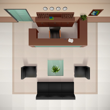 Foyer Interior Top View Realistic Background With Chairs And Sofa Vector  Illustration Stock Vector   64668047