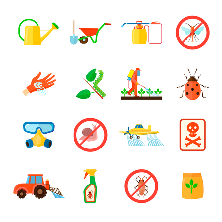 fertilizers: Pesticides and fertilizers icons set with special equipment symbols flat isolated vector illustration