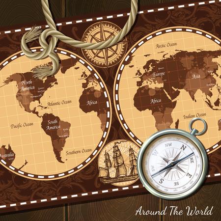 Nautische wereld retro kaart in bruine kleuren en kompas realistische vintage achtergrond vector illustratie