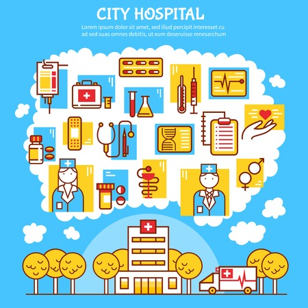 pill prescription: Medical flat vector illustration with city hospital design concept and healthcare icons with thermometer syringe pill blister and nurse and doctor figurines