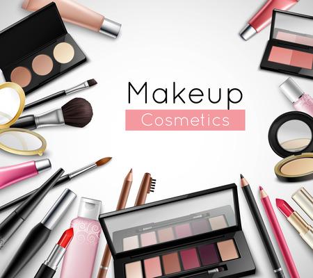 Trucco cosmetici di bellezza accessori borsa manifesto composizione realistico con labbro rossetto gloss e ombretti illustrazione vettoriale Vettoriali