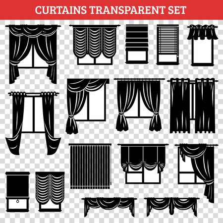 casement: Windows silhouettes with curtains and jalousie black set on transparent background isolated vector illustration
