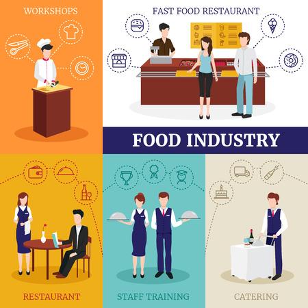 Concepto de diseño de la industria alimentaria con hombres y mujeres que trabajan en restaurante plano ilustración vectorial aislado