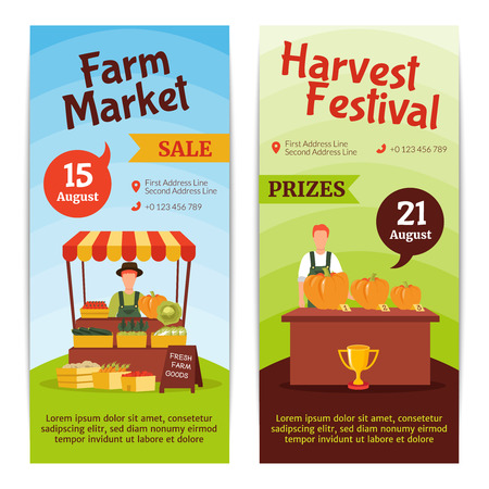 august: Flat design vertical banners presenting august farm market sale and harvest festival with prizes isolated vector illustration