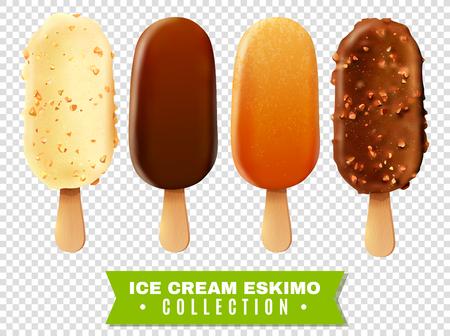 IJs collectie van eskimo taart met witte en donkere Milc variëteiten van chocolade glazuur op transparante achtergrond realistische vector illustratie Stock Illustratie