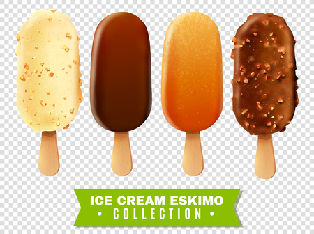 Ice cream collection of eskimo pie with white dark and milc varieties of chocolate glaze at transparent background realistic vector illustration