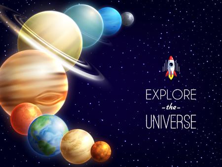 életmód: Solar rendszer reális háttér helyet és a galaxis szimbólumok vektoros illusztráció