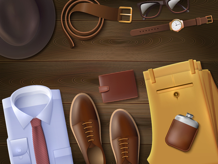 fashion set: Men wear lay set with fashion symbols on wooden background cartoon vector illustration