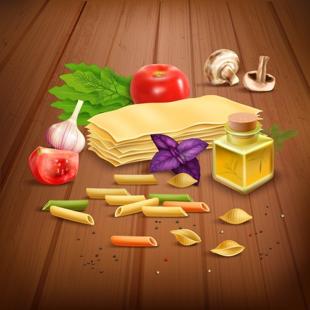 italian cuisine: Classic italian dry pasta dish raw ingredients realistic composition poster with olive oil tomato and garlic vector illustration