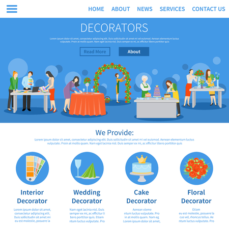 wedding reception decoration: Professional decorators services for weddings parties interior design one page online information flat homepage abstract vector illustration