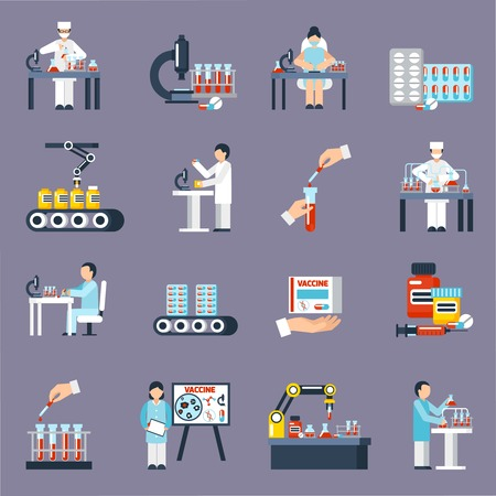 Pharmaceutical production icons set with research and science symbols flat isolated vector illustration Vettoriali