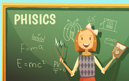 ammeter: Physics lessons for elementary primary school kids with schoolgirl by blackboard with formulas cartoon poster vector illustration