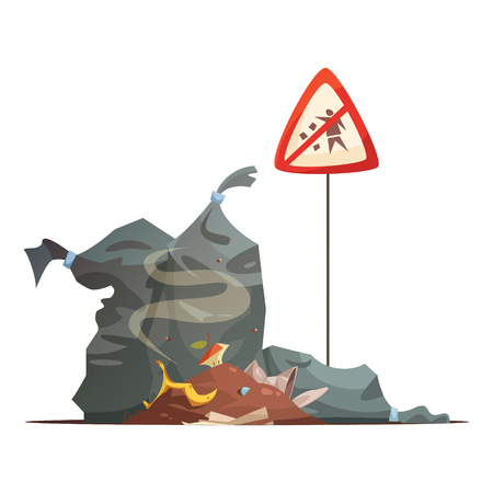 waste disposal: Warning sign of improper garbage and waste disposal to prevent city streets littering cartoon poster vector illustration