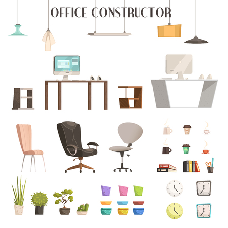 office construction: Modern interior furniture and accessories cartoon style icons for trendy office renovation and construction isolated vector illustration Illustration