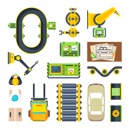 dump body: Flat icon set of car production line elements from conveyor engines to spare parts isolated vector illustration