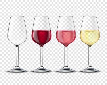 Klasyczne kieliszki do wina szklanki alkoholu zestaw z czerwonym białego i różanego wina realistyczne przezroczyste plakatu ilustracji wektorowych Ilustracje wektorowe