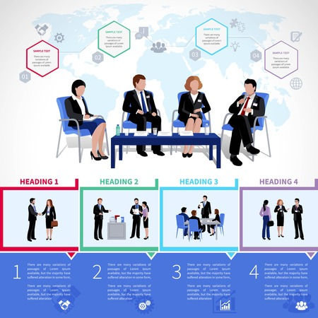 briefing: Meeting people infographics set with collaboration briefing analysis brainstorming consultation in flat style vector illustration