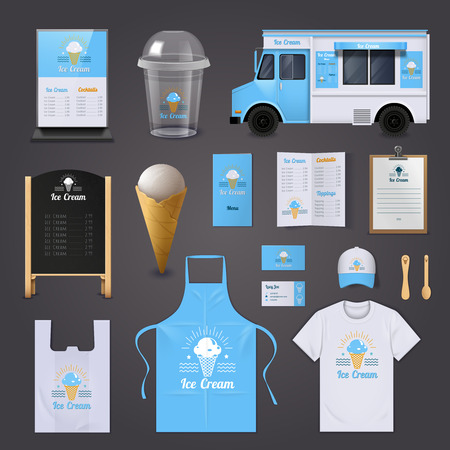 identity: Ice cream corporate identity realistic icons set with apron menu and van isolated vector illustration