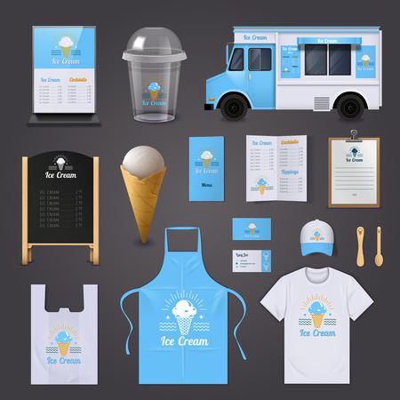 IJs corporate identity realistische pictogrammen set met schort menu en geïsoleerde van vector illustratie